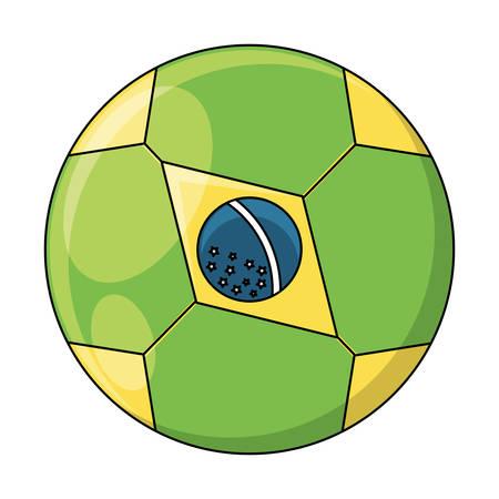 soccer ball with brazilian flag design over white background, vector illustration Imagens - 102492009
