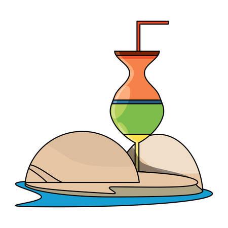Cocktail drink icon over white background, vector illustration Illustration