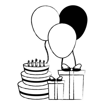 Birthday cake with gift box and decorative balloons over white background, vector illustration  イラスト・ベクター素材
