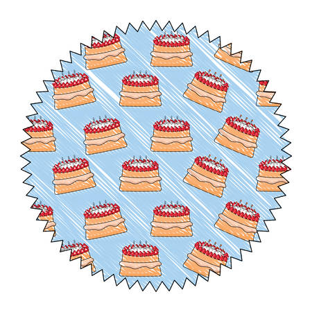 seal stamp with cake with candles pattern, vector illustration