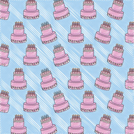 background of birthday cake pattern, vector illustration