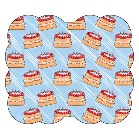 decorative frame with cake with candles pattern, vector illustration