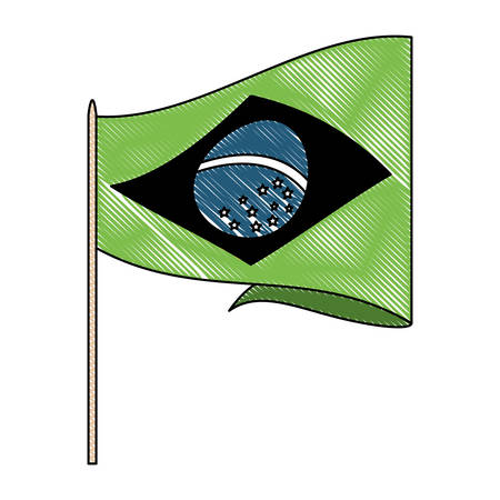 brazilian flag icon over white background, vector illustration Imagens - 102496592
