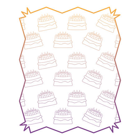 abstract frame with cake with candles pattern, vector illustration