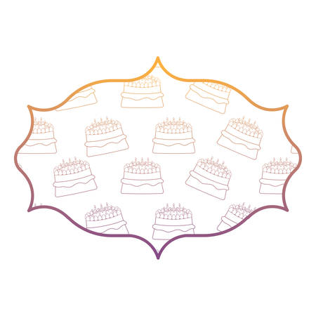 arabic frame with cake with candles pattern, vector illustration