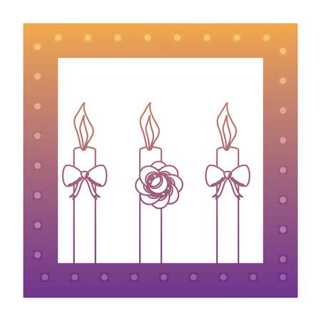 decorative frame with birthday candles over white background, vector illustration