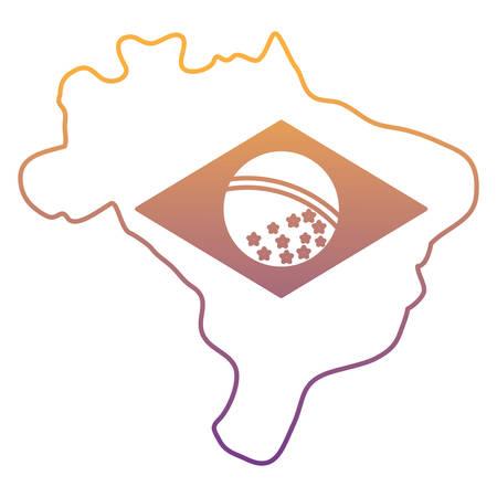 brazil map with brazilian flag design over white background, vector illustration Imagens - 102500640