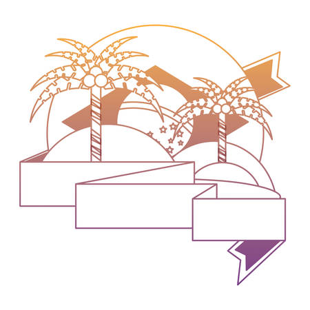 emblem with beach and brazilian flag over white background, vector illustration