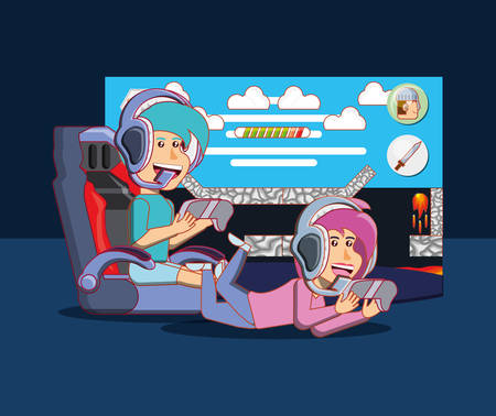 Cartoon happy boy and girl playing video games over black background, colorful design. vector illustration