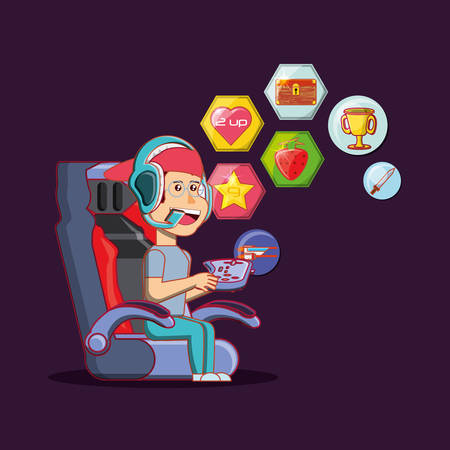 Cartoon boy playing video game over purple background, colorful design. vector illustration