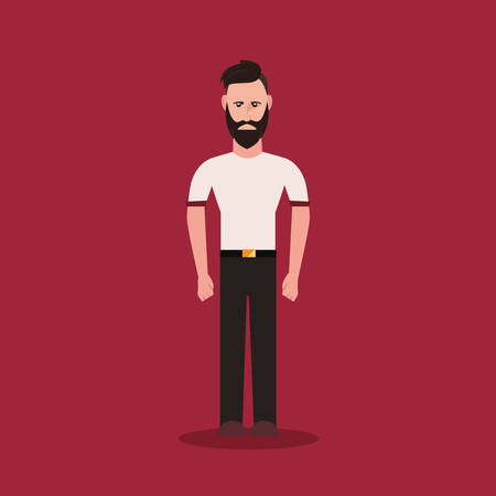 Cartoon hipster man standing over red background, colorful design. vector illustration