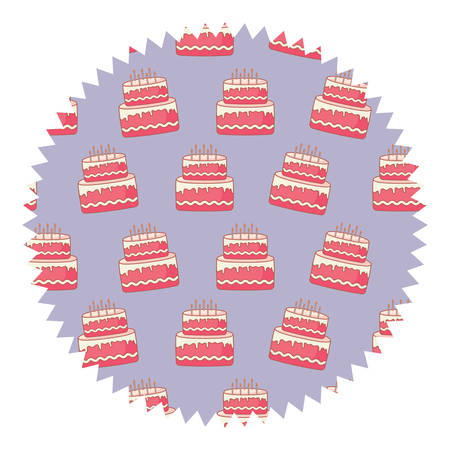seal stamp with birthday cake pattern over white background, vector illustration Illustration