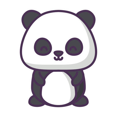 cute panda bear icon over white background, vector illustration