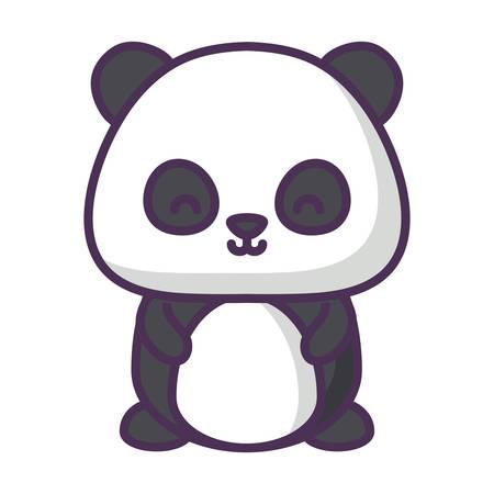 cute panda bear icon over white background, vector illustration