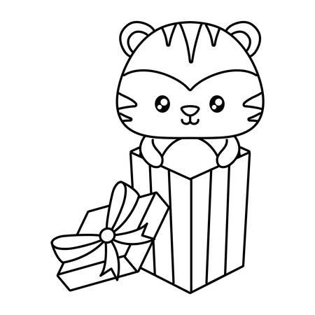 boîte-cadeau avec tigre mignon sur fond blanc, illustration vectorielle
