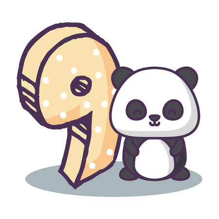 cute panda bear with number nine icon over white background, vector illustration 免版税图像 - 102658057