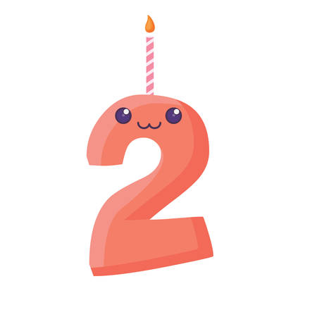 birthday candle of number two over white background, vector illustration