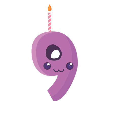 Kawaii birthday candle of number nine over white background, vector illustration