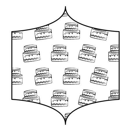 decorative frame with birthday cake pattern over white background, vector illustration Ilustração