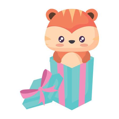 Coffret cadeau avec tigre mignon sur fond blanc, vector illustration Vecteurs