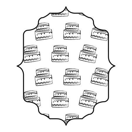 arabic frame with cake with candles pattern over white background, vector illustration Stock Illustratie