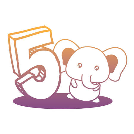 cute elephant with number five icon over white background, vector illustration 일러스트