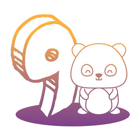 cute panda bear with number nine icon over white background, vector illustration