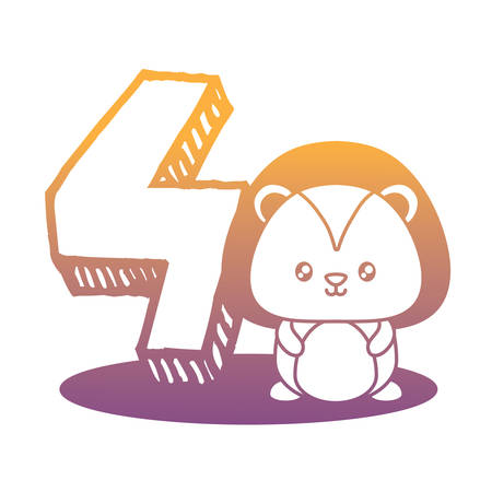 cute lion with number four icon  over white background, vector illustration