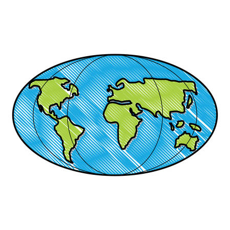 world map icon over white background, vector illustration