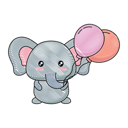 cute elephant with balloons over white background, vector illustration