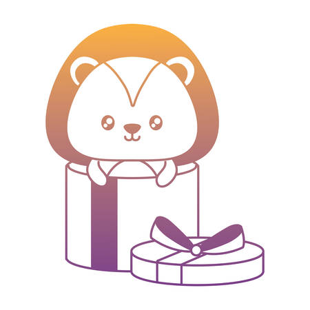 gift box with cute lion over white background, vector illustration Illustration
