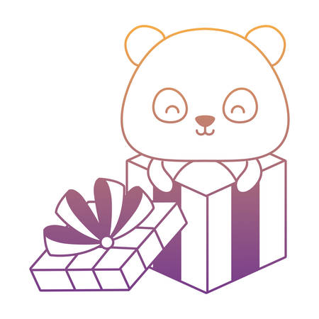 gift box with cute panda bear icon over white background, vector illustration