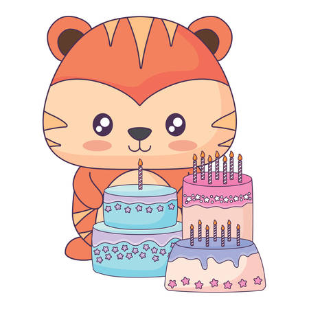 Cute tiger with birthday cakes over white background, vector illustration 일러스트