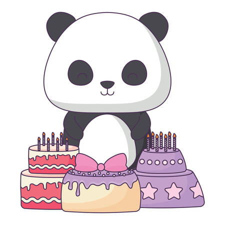Cute panda bear with birthday cakes over white background, vector illustration Illustration