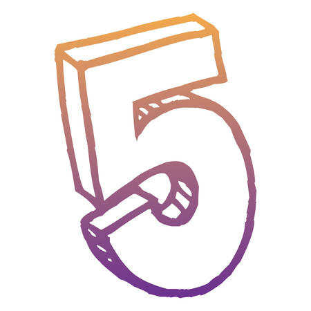number five icon over white background, vector illustration