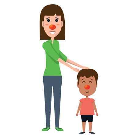 Woman with happy kid with clown nose icon over white background, vector illustration