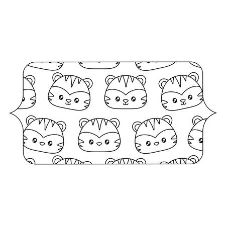 banner with cute tigers pattern over white background, vector illustration