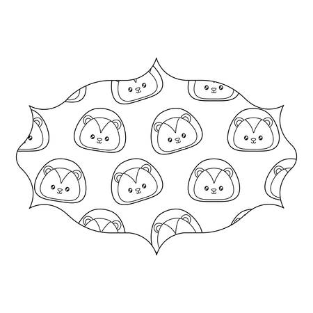 arabic frame with cute lion pattern over white background, vector illustration 일러스트