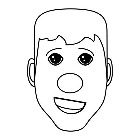 man with red nose icon over white background, vector illustration