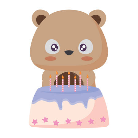 Cute squirrel with birthday cake over white background, vector illustration