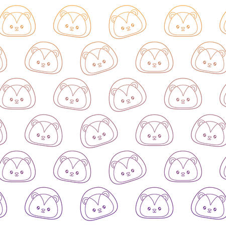 background of cute lion pattern, vector illustration