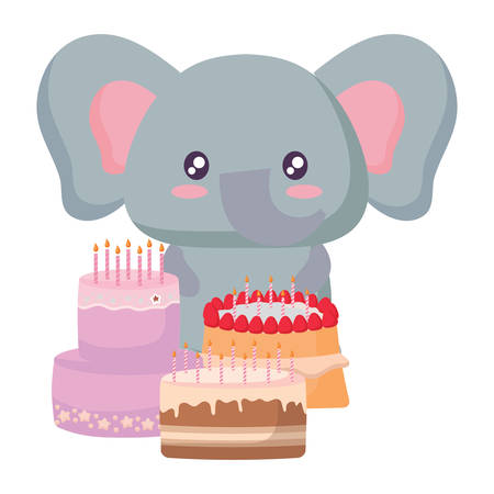 Cute elephant with birthday cakes over white background, vector illustration Illustration