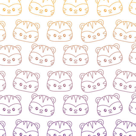 background of cute tigers pattern, vector illustration