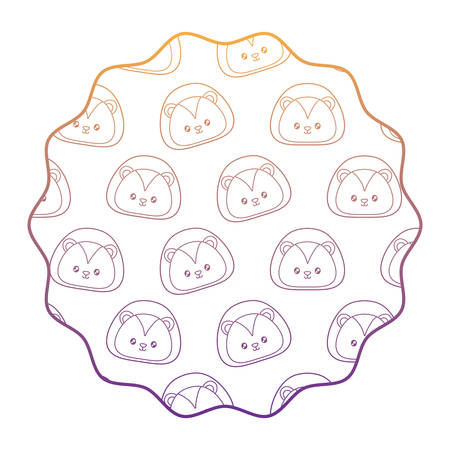 circular frame with cute lion pattern over white background, vector illustration
