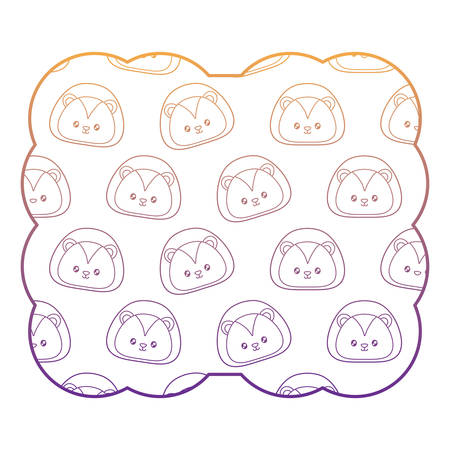 decorative frame with cute lion pattern over white background, vector illustration 일러스트