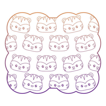 decorative frame with cute tigers pattern over white background, vector illustration