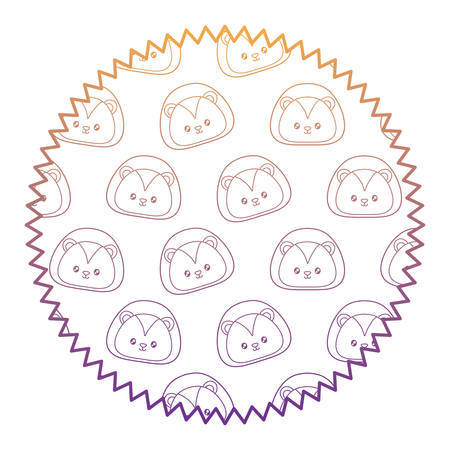 seal stamp with cute lion pattern over white background, vector illustration