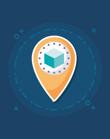 location pin with 3d model over blue background, colorful design. vector illustration