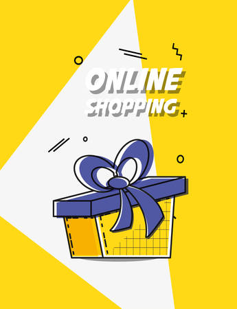 online shopping with gift pop art style vector illustration design Ilustrace