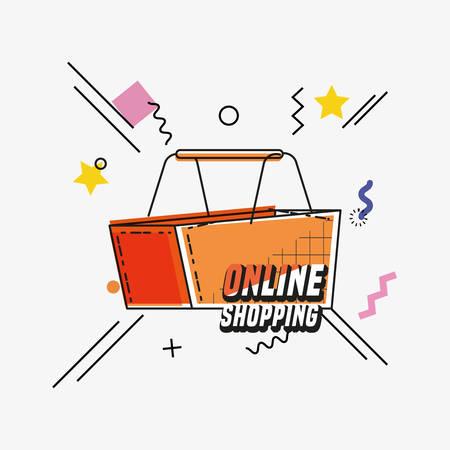 online shopping with basket pop art style vector illustration design
